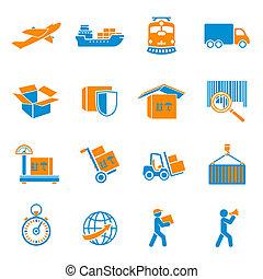 entrega, conjunto, envío, iconos