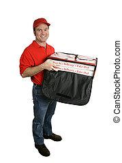 entrega, corporal, cheio, isolado, pizza