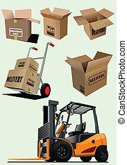 entrega, equipamento, vect, collection.