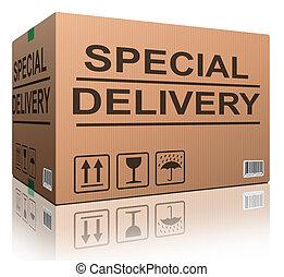 entrega especial, caja de cartón