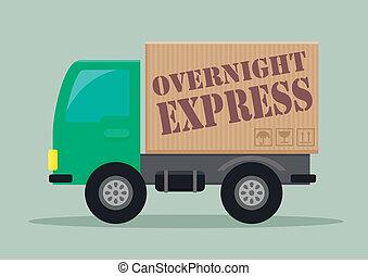 entrega, expresso, caminhão, durante noite