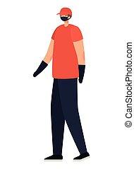 entrega, hombre de la máscara, rojo, seguridad, camisa