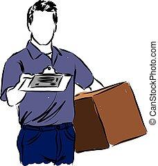 entrega, ilustração, homem