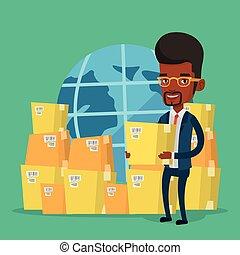 entrega, internacional, trabajador, servicio, empresa / negocio