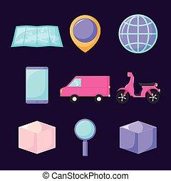 entrega, jogo, furgão, serviço, ícones