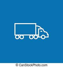 entrega, línea, camión, icon.