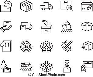 entrega, linha, ícones