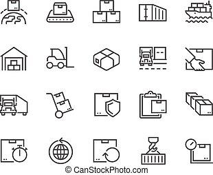 entrega, linha, pacote, ícones