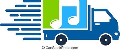 entrega, logotipo, ícone, desenho, música