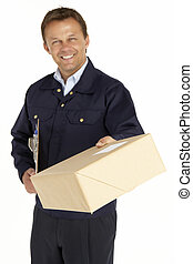 entrega, mensajero, paquete