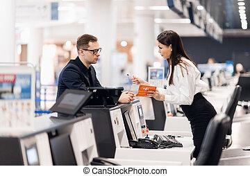 entrega, mostrador, aire, línea aérea, hombre de negocios, ...