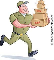 entrega, pacote, homem