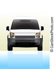 entrega, pequeño, frente, furgoneta, vista