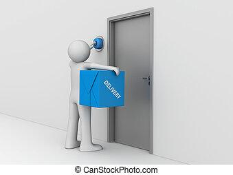 entrega, -, porta, cobrança, negócio