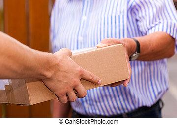entrega, postal, -, serviço, pacote