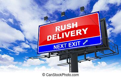 entrega, prisa, rojo, billboard.
