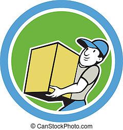 entrega, proceso de llevar, trabajador, caricatura, paquete