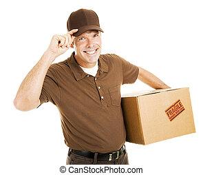 entrega, puntas, sombrero, cortés, hombre