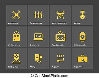 entrega, quadcopter, zangão, icons.