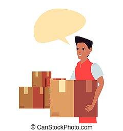entrega rápida, empregado, pacotes, bolha, conversa, homem