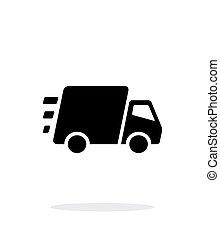 entrega rápida, fondo., camión, blanco, icono