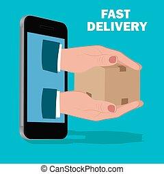 entrega rápida, servicio, plano, diseño