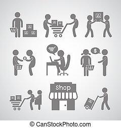 entrega, símbolo, shopping