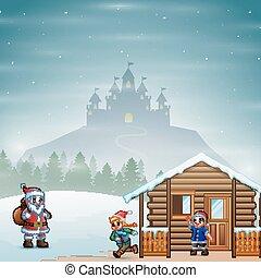entrega, santa, regalos, paisaje, niños, claus, aldea