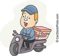 entrega, scooter, dirigindo, homem