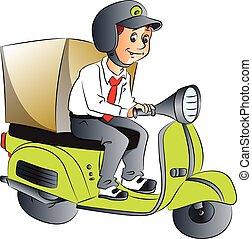 entrega, scooter., vector, niño
