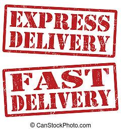 entrega, selos, expresso, rapidamente