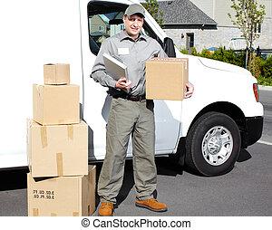 entrega, serviço postal, man.