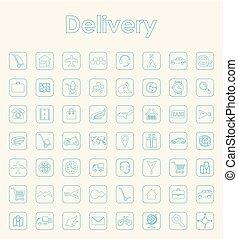 entrega, simples, jogo, ícones