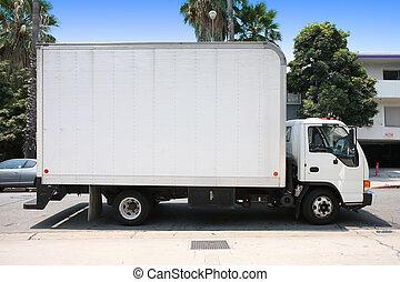 entrega, suburbio, blanco, camión, calle.