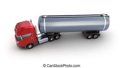 entrega, tanque de petróleo, vehículo