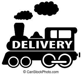 entrega, trem, pretas, isolado