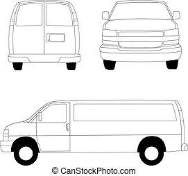entrega van, linha, ilustração