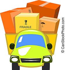 entrega, vetorial, caminhão