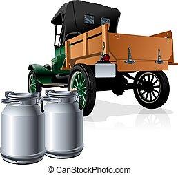 entrega, vetorial, caminhão, retro, leite