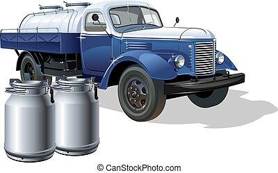 entrega, vetorial, caminhão, retro, petroleiro, leite