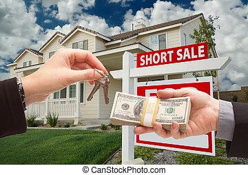 entregar, cortocircuito, llaves, casa, encima, efectivo,...