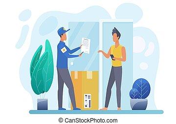 entregar, mensageiro, pacote, vetorial, apartamento, ilustração