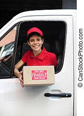 entregar, mensajero, paquete, encima, carro de entrega