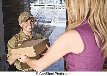 entregar, mensajero, paquete