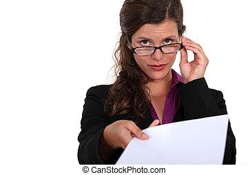 entregar, pedazo, paper., secretario