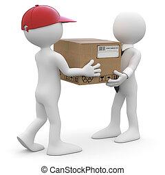 entregar, trabajador, paquete
