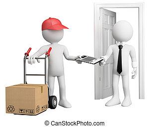 entregar, trabalhador, 3d, pacote