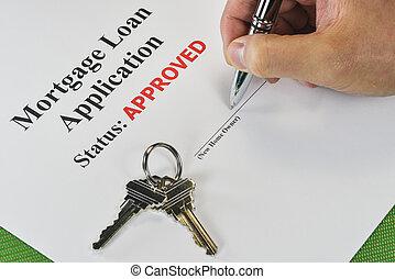 entregue firmar, un, aprobado, bienes raíces, préstamo de hipoteca, documento