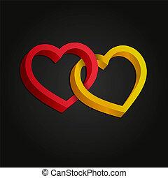 entrelaçado, illustration., valentine, volume., dois, day., experiência., óptico, corações, branca, 3d, ilusão, tridimensional