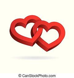 entrelaçado, tridimensional, valentine, volume., dois, ilusão, day., experiência., vetorial, corações, óptico, 3d, branca, illustration.
